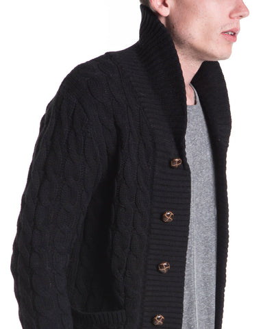 Shawl Collar Cardigan (Black)