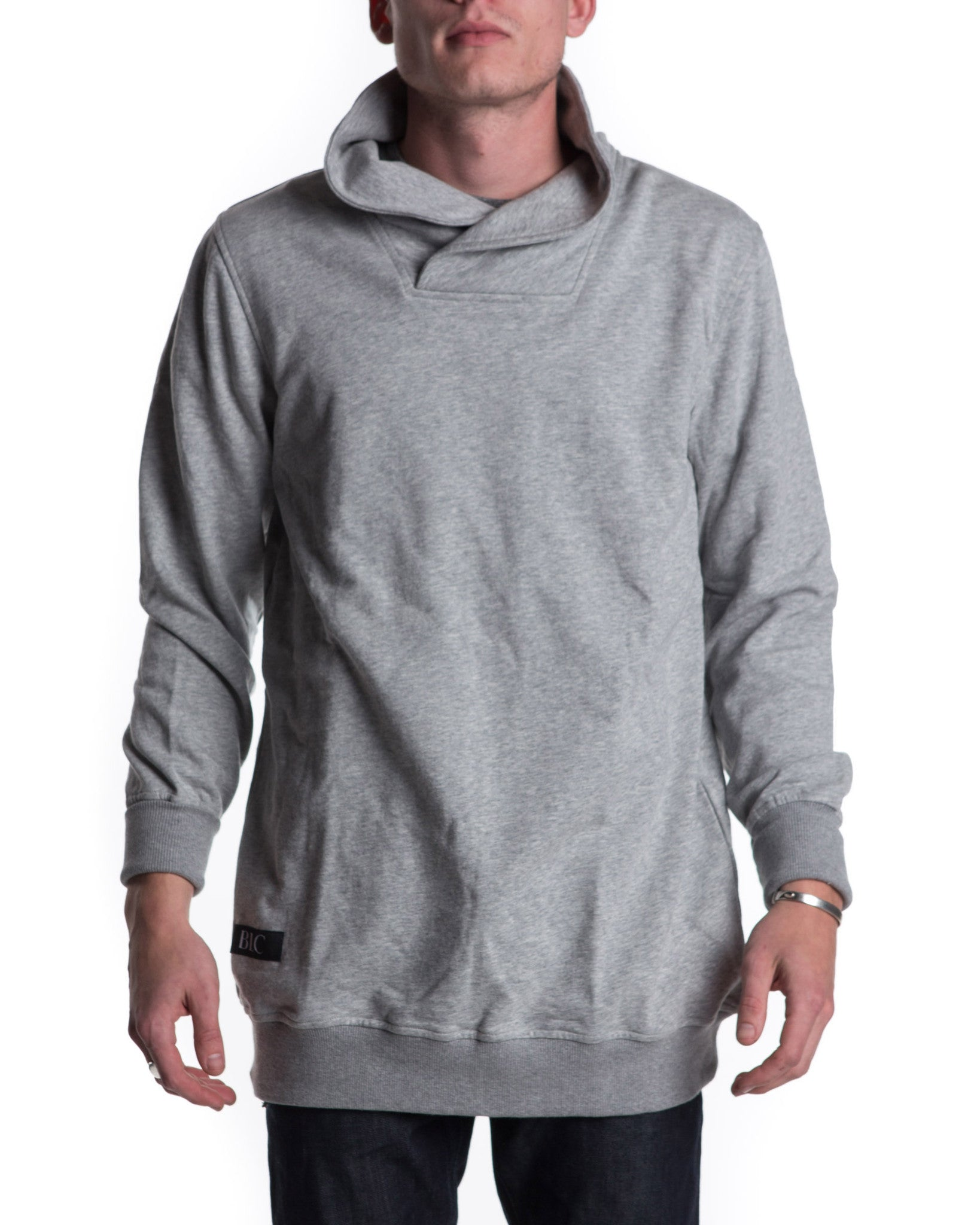 Shawl Collar Pullover Sweatshirt (Grey)