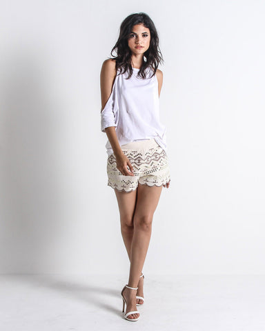 Gosheven Sequin Embroidered Shorts (Cream)