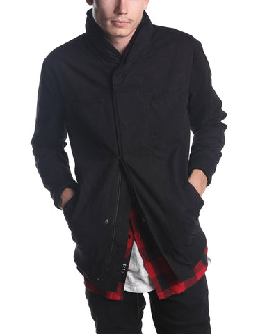 Nylon Hooded Bomber Jacket (Black)
