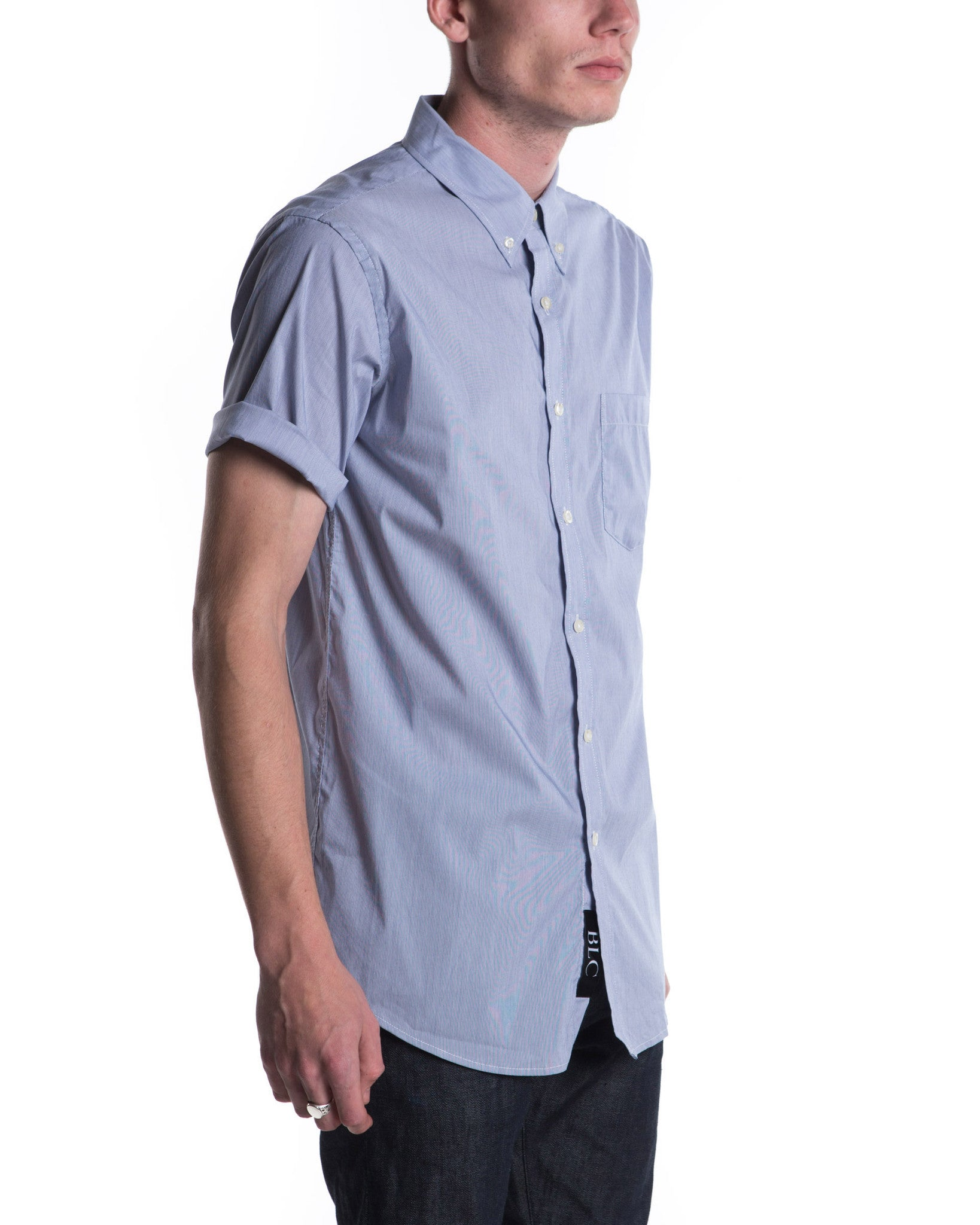 Short Sleeve Blue Micro Shirt (Blue)