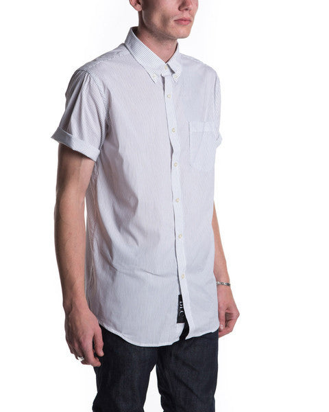 Short Sleeve Blue Pinstripe (Cream)