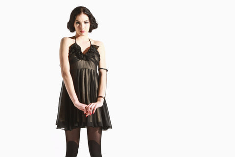 Women's Domitelle Sheer Ruffle Dress (Black/Nude)