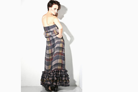 Women's Strapless Ruffle Maxi Dress (Silk Plaid)