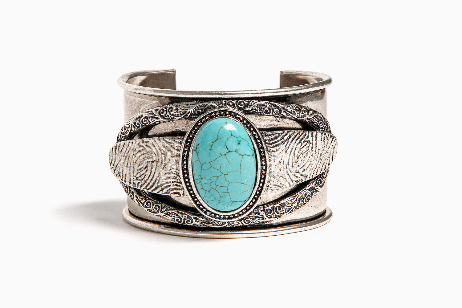 Priestess's Turquoise Adjustable Cuff (Silver)