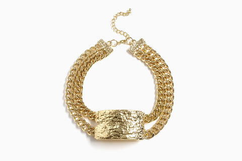 Women's Double Chain Plate Choker Necklace (Gold)