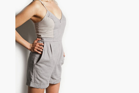 Women's Zip Front Linen Short Jumper (Grey Linen)