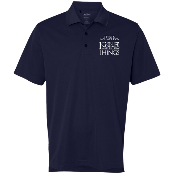 I Golf and I Know things - Embroidered Adidas Golf ClimaLite Basic Performance Pique Polo Navy