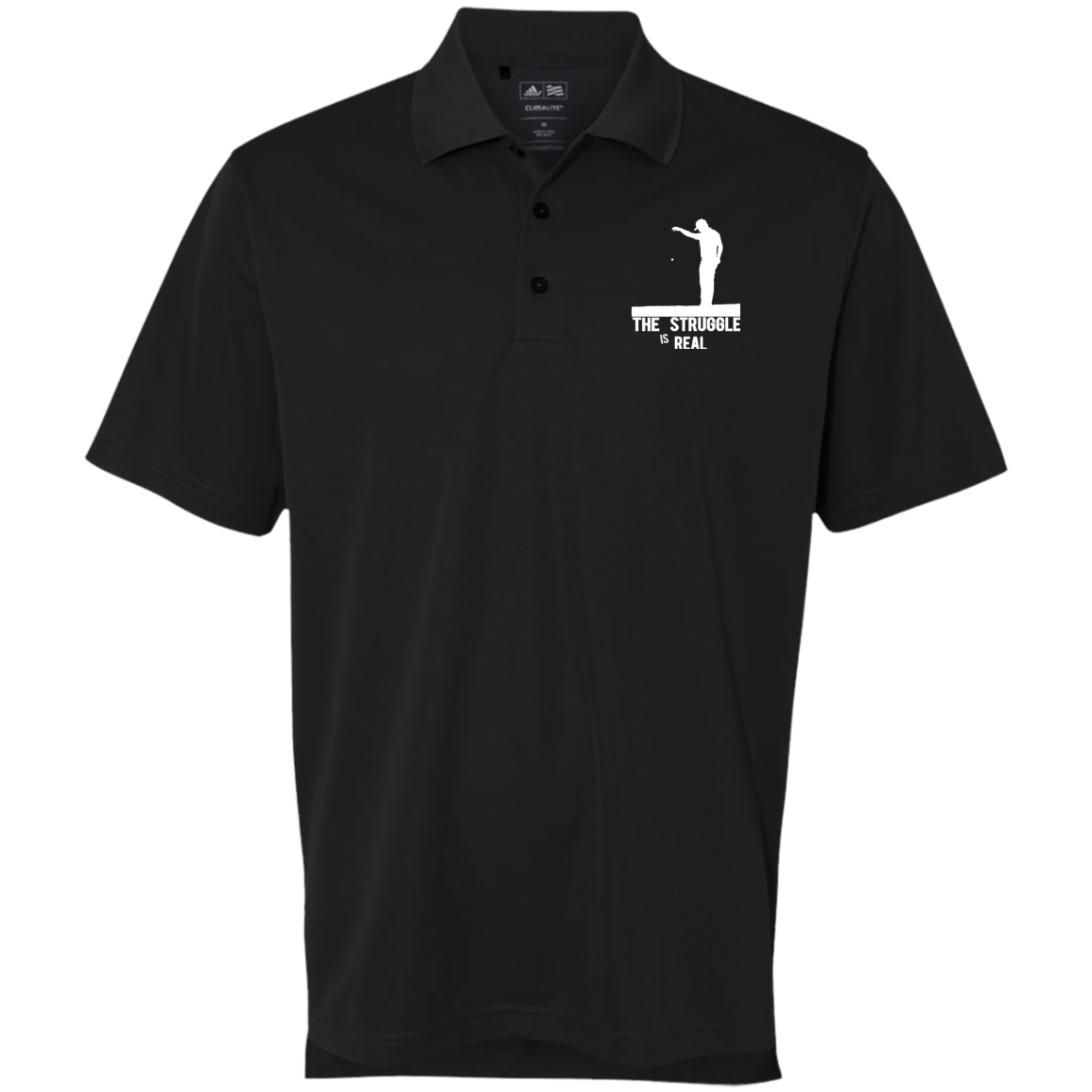 Struggle Is Real - Adidas Golf ClimaLite Basic Performance Pique Polo Black