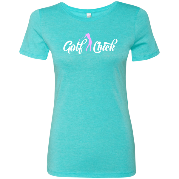 Golf Chick Ladies Tri-Blend T-Shirt - Pink letters