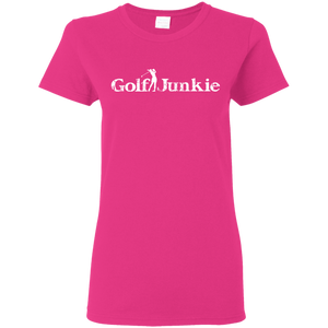 golf junkie women's golf t-shirt hot pink