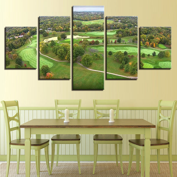 Golf Canvas Art Wall Decor Of Aerial View Over Table