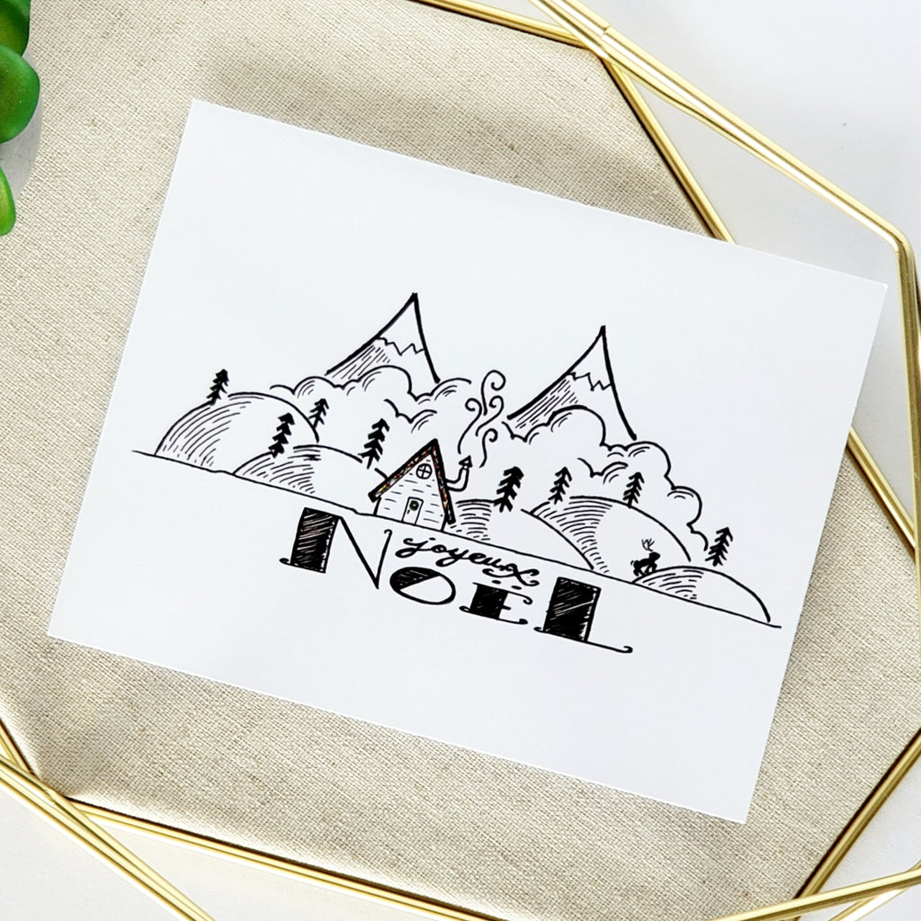 Joyeux Noël Cabin Greeting Card