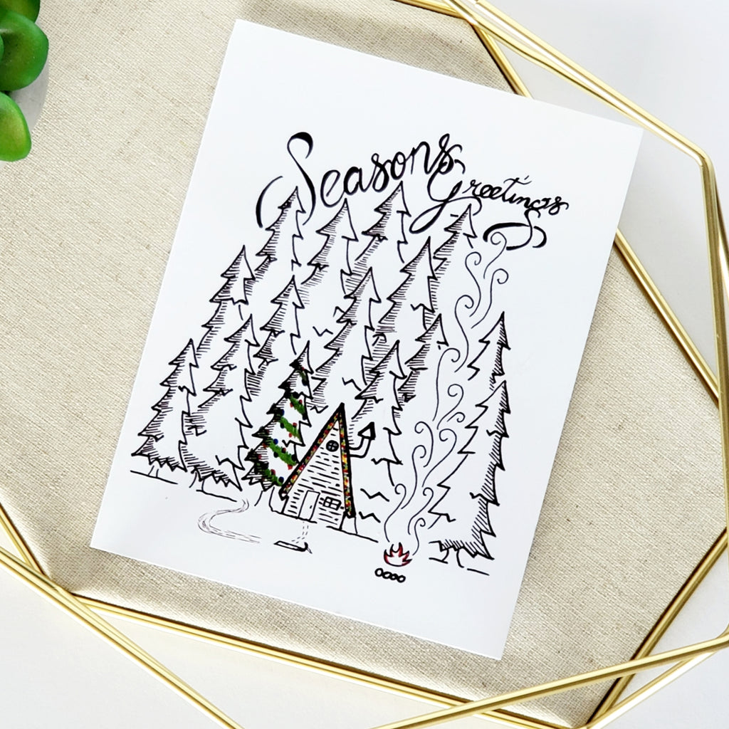 Season's Greetings Cabin Greeting Card