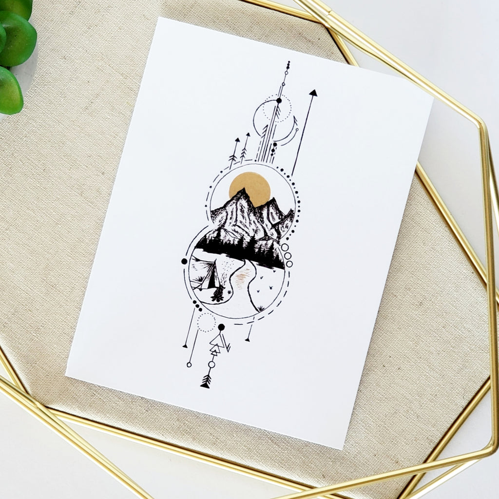 Geometric Camping Greeting Card
