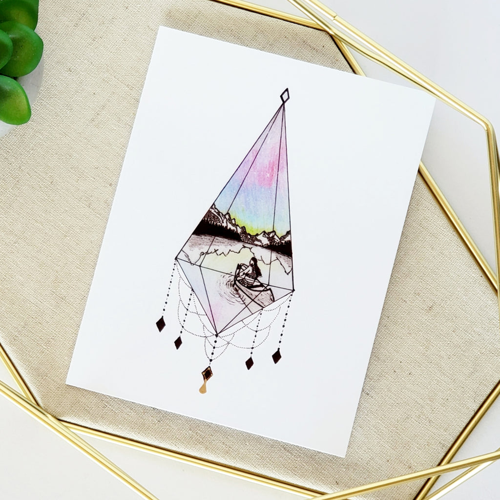 Canoe Under The Northern Lights Greeting Card
