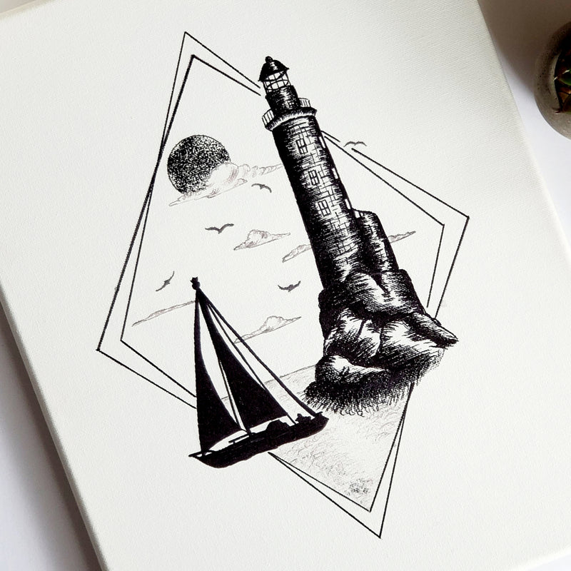 Lighthouse & Sailboat Original