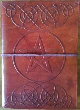 "5"" x 7"" Pentagram leather blank book w/cord"