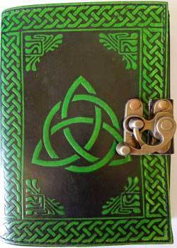 black/ green Triquetra leather blank book w/ latch
