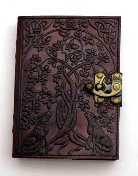 Wolf & Tree of Life leather blank book w/ latch