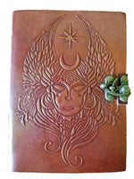 "5"" x 7"" Goddess Embossed leather w/ cord"