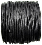 Black Waxed Cotton cord 2mm 100 meters