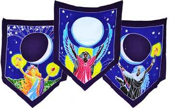 "Triple Moon Goddess Prayer Flags 60"" x  29"""