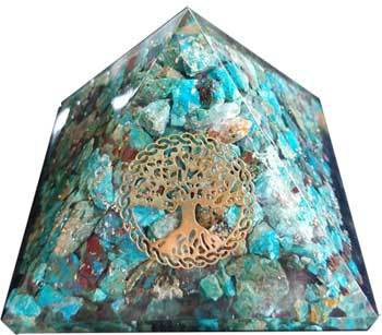 70mm Orgone Chrysocolla & Tree of Life pyramid