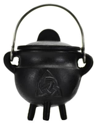 Triquetra Cast Iron Cauldron w/Lid 2 3/4""