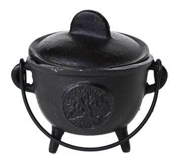 "5"" Cast iron cauldron w/ lid Tree of Life"