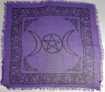 "Triple Moon w/pentagram altar cloth 18"" x 18"""