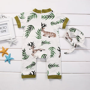 Deer Fall Romper + Headband Set