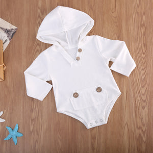 Gustavo Button Hooded Onesie