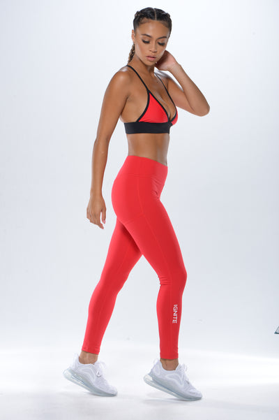 Leggings with IGNITE on Leg - RED - ignite-merch