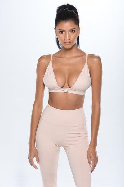 Deep Plunge Sports Bra - Blush Pink - ignite-merch