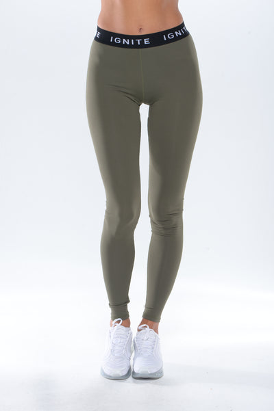 """IGNITE"" Banded Leggings - Green"