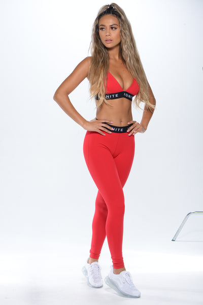 """IGNITE"" Banded Sports Bra - Red - ignite-merch"
