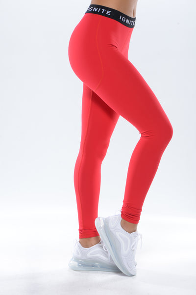 """IGNITE"" Banded Leggings - Red"