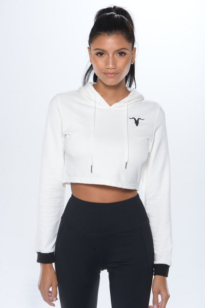 Super cropped hoodie- White - ignite-merch