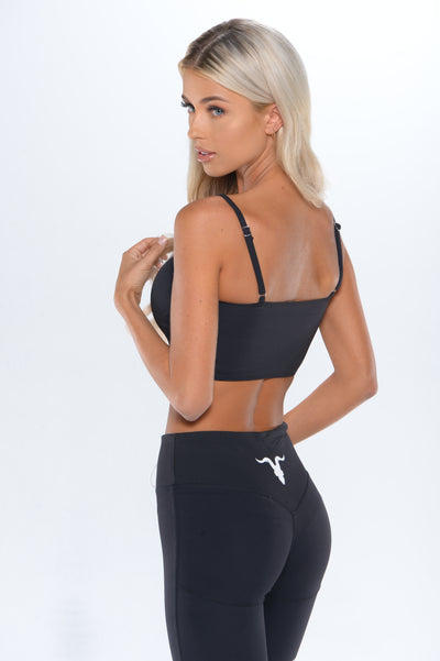 Bandeau Sports Bra - Black - ignite-merch