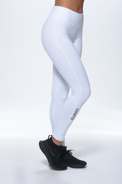 Leggings with IGNITE on Leg - White