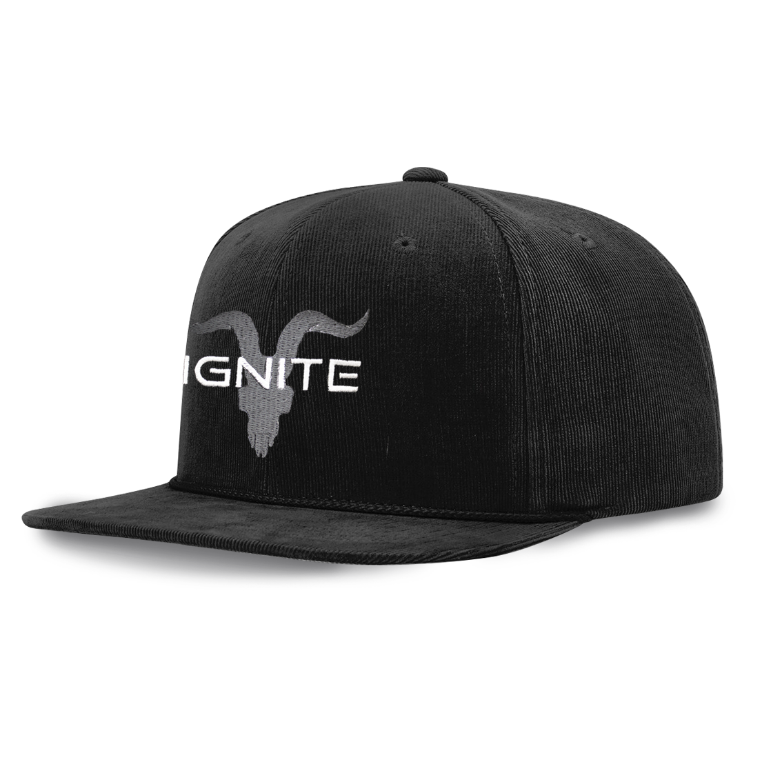 Ignite Premium Collection Black Corduroy Flat Bill Baseball Cap
