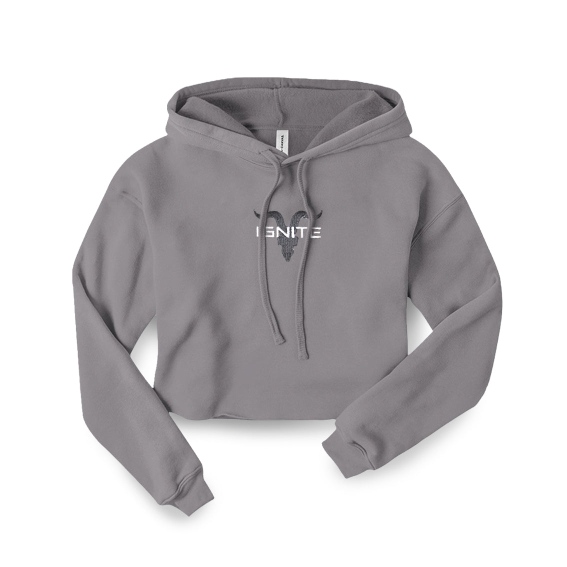 Ladies Light Heather Grey Cropped Hoodie - ignite-merch