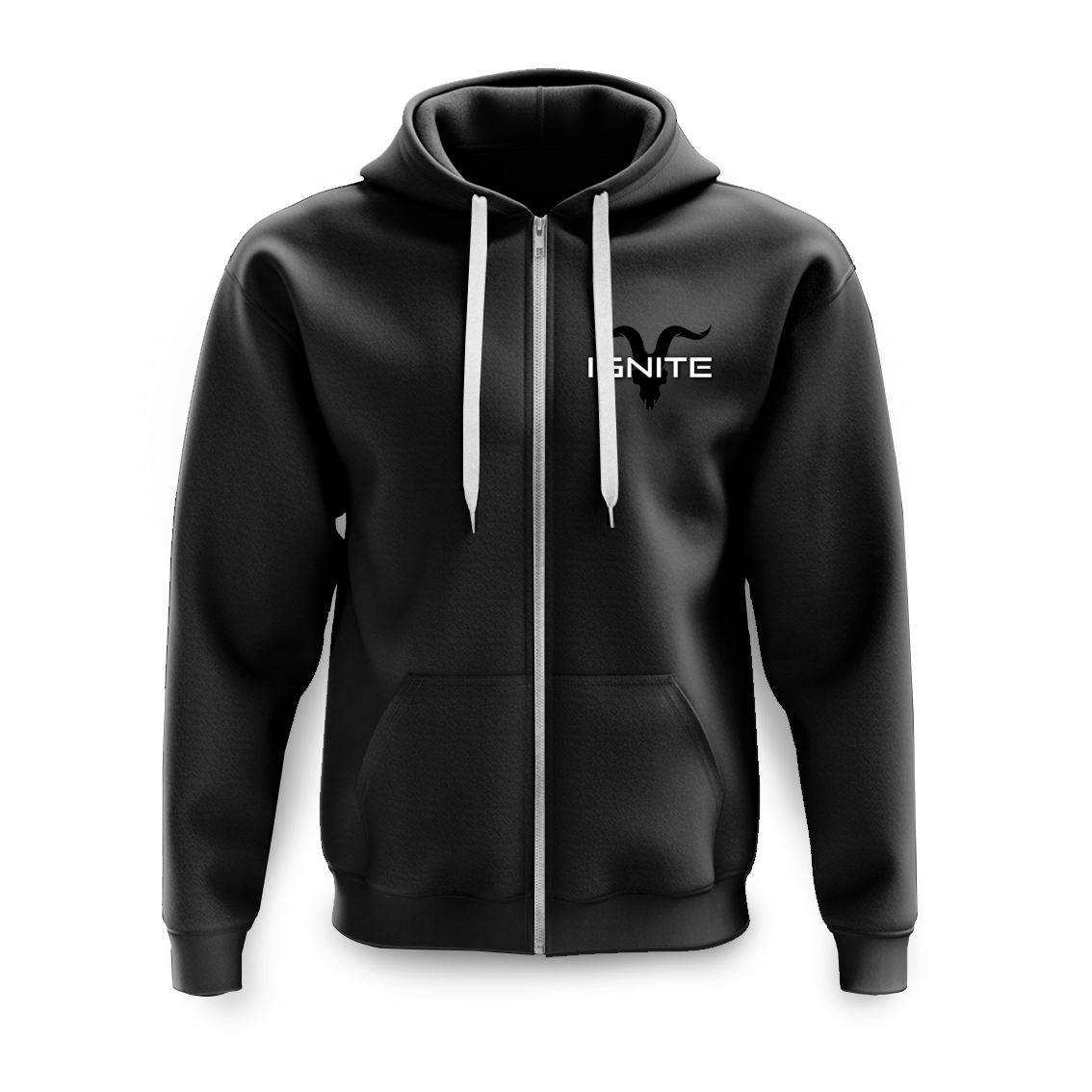 Unisex Black Zip Up Logo Fleece Hoodie - ignite-merch