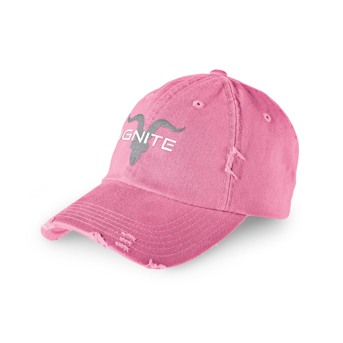 Distressed Dad Hat - Pink with Grey Logo