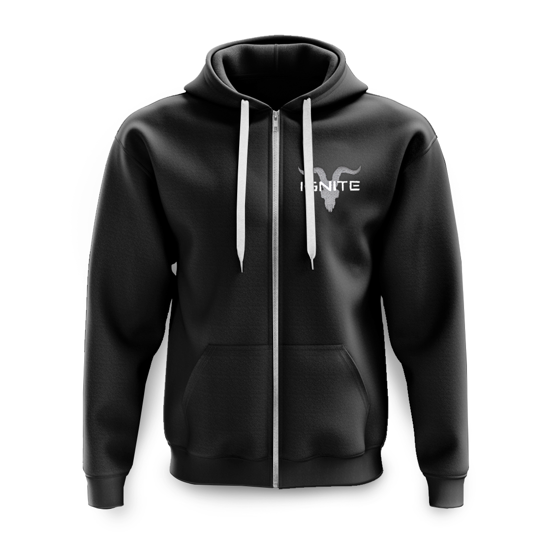 Ignite Premium Collection Unisex Black Zip Up With Grey Logo Fleece Hoodie