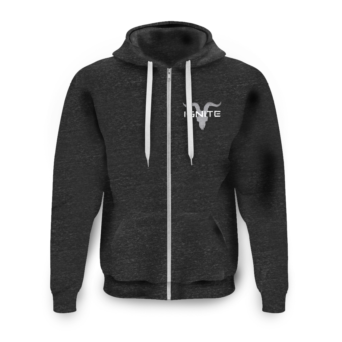 Unisex Athletic Grey Zip Up with Grey Logo Fleece Hoodie - ignite-merch