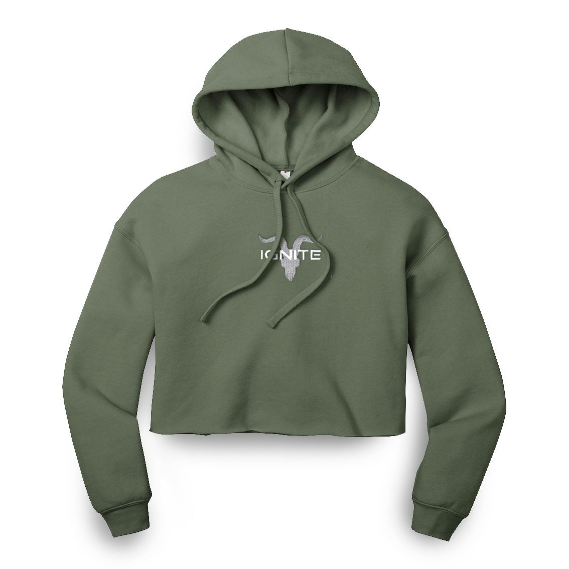 Ladies Military Green Cropped Hoodie