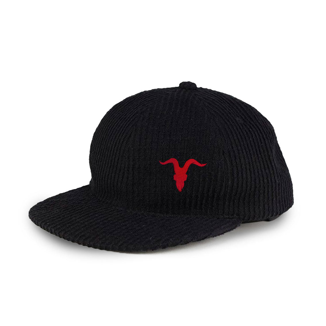 Corduroy Cap with Red Logo on Side