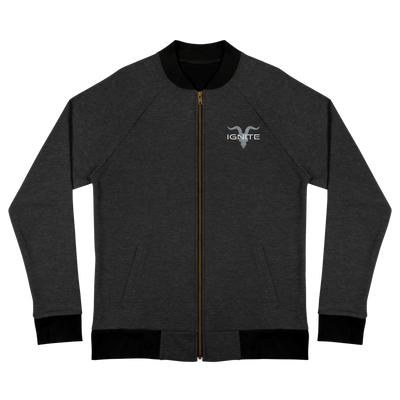 Bomber Jacket Black With Grey Logo - ignite-merch